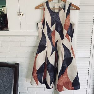H&M Geometric Quilted Pattern Fit and Flare Dress